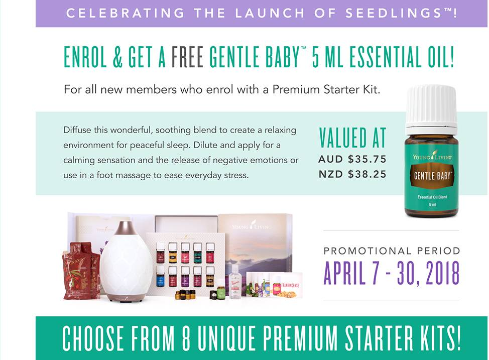 Celebrating the Launch of Seedlings with a Free Gentle Baby Essential Oil Blend 5ml - April 2018