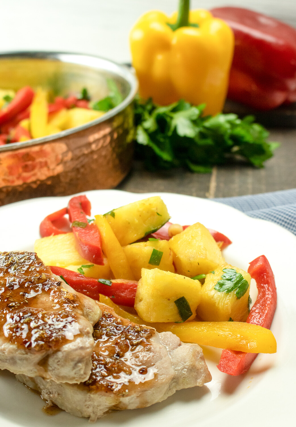 Sweet & Sour Pork Chops with Peppers & Pineapple